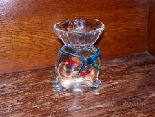 "MURANO ART GLASS 6"" FISH BAG AQUARIUM W/BLUE BOW PAPERWEIGHT"