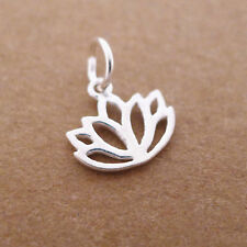 Sterling Silver Lotus Flower Yoga Zen Namaste Pendant Charm Necklace Bracelet II