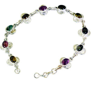 Multi 925 Solid Sterling Silver Natural comely Tourmaline jewelry Bracelet AU