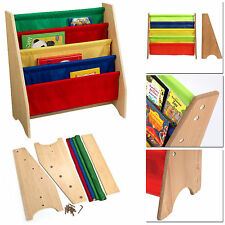 CHILDREN NATURAL WOOD EFFECT SLING MULTICOLORED KIDS BOOK SHELF STORAGE RACK NEW