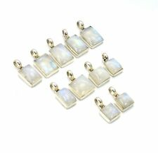 WHOLESALE 11PC 925 SOLID STERLING SILVER WHITE RAINBOW MOONSTONE PENDANT LOT G51