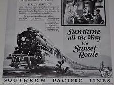 1925 Southern Pacific advertisement, Sunset Limited, speeding steam locomotive