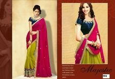 Indian bollywood Party Georgette Pink & Green saree Ladies Evening Designer