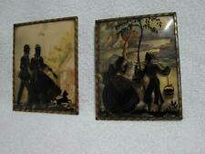 """2 4 x 5"""" Vintage Reverse Painted Silhouette Convex Bubble Glass Framed Pictures"""
