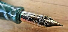 New Visconti Green Marbled Kaleido Voyager Fountain Pen MEDIUM 18k nib