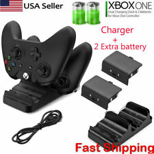 For Xbox One S X Dual Controller Dock Charger Station + 2 Rechargeable Battery