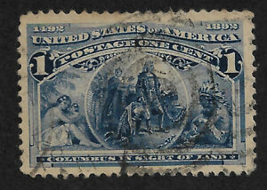 US # 230 (1893) 1c - Used - XF+ - Columbus in Sight of Land