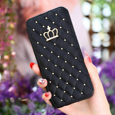 For Samsung Galaxy S9 Plus S9 Crown Diamond Bling Wallet Flip Leather Cover Case