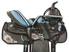 NEW BLUE 14 15 16 WESTERN BARREL SADDLE PLEASURE TRAIL SHOW HORSE TACK SET BLUE