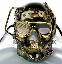 New Steampunk Style Evil Skull Gold Silver Masquerade Mask Prom Custom Party