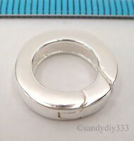 1x BRIGHT STERLING SILVER PLAIN ROUND SPRING LOBSTER CLASP BEAD 14mm #2361