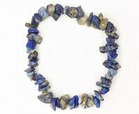 Artisan Lapis Lazuli Natural Stone Blue Gem Chip Stretch Bracelet