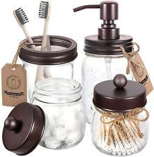 Set 4 Pcs Mason Jar Bathroom Accessories, Countertop Vanity Organize - Bronze