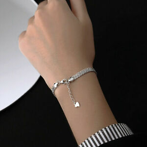 Womens 925 Sterling Silver Braided Chain Bracelet Jewellery Solid Bangle Gift UK