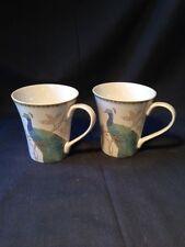 222 Fifth Peacock Garden Mugs Cups (Set of 2)