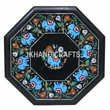 "15"" Black Marble Side Table Turquoise Elephant Design Inlay Work Home Decor"