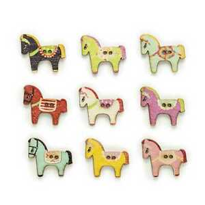 30pcs Horse Wood Buttons for Sewing Scrapbooking Clothing Headwear Decor 29x25mm