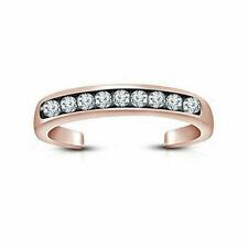 14K Rose Gold Over .925 Sterling Silver Channel-Set Adjustable Band Toe Ring