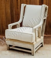 Contemporary Retro OPEN Arm Chair Exposed Wood Beige Linen White Industrial