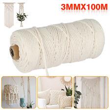 Artisan Macrame Rope 100% Natural Cotton Twisted Cord Craft String DIY 3mm*100m