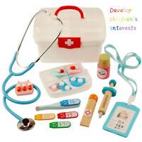 Kids Wooden Medical Kit Children Pretend Play Doctor Toys Develop Interests Kits