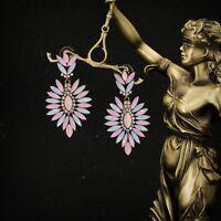 Boucles d`Oreilles Clous Goutte Chandelier Rose Bleu Pale Vintage Mariage AA 11