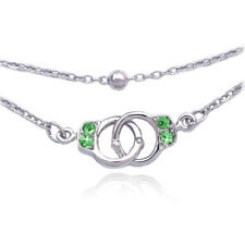 Lime Green Crystal Handcuffs Charm Bracelet Bead Link Double Chain Jewelry