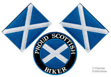 LOT of 3 PROUD SCOTTISH BIKER PATCH + SCOTLAND FLAG new embroidered IRON-ON