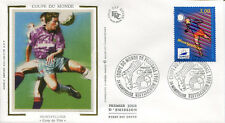 FRANCE FDC - 3011 1 FOOTBALL COUPE DU MONDE - MONTPELLIER 1 Juin 1996 -LUXE soie