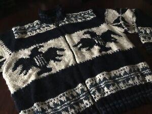 Vintage POLO Ralph Lauren HANDKNIT Cowichan Indian Eagle Cardigan Sweater XL