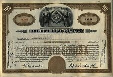 Erie Railroad Company Stock Certificate Clean Vignette Norfolk Southern
