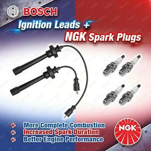 4 x NGK Spark Plugs + Bosch Ignition Leads for Mitsubishi Lancer CE CG CH CS6A