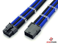 8 Pin Pci-E GPU 30cm Extension Dark Blue Black Sleeved Shakmods + 2 Cable Comb