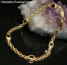 14k Yellow Gold Black Square Princess Onyx Bismark Chain Link Tennis Bracelet 8""
