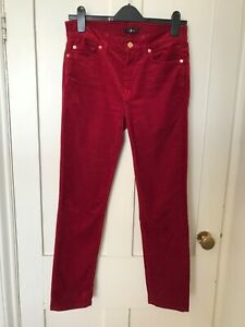 7 For All Mankind Roxanne Ankle Dark Red Corduroy Slim Jeans W 27 L 27
