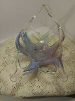 Vintage Art Glass Vetzo Stile Murano Blue,Pink,Green,Clear Basket. Made in Italy