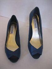 Steve Madden Swype Women's Blue Leather Open Toe Pumps Shoes Sz7 1/2 NWWB