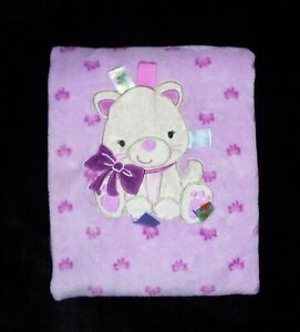 TAGGIES Pink Purple Kitty Cat Kitten Bows Baby Blanket 30x40 Security Lovey