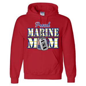 🔥 Proud Marine Mom Hoodie USMC Marine corp Military Tags USA Flag Gift for Moms