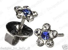 Silver Studs Ear Piercing Earrings Clear Crystal Daisy Blue Ctr Studex System 75