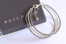 "Silpada NIB ""Virtuoso"" Three Strand Sterling Silver Two Toned Bracelet B3320 NEW"