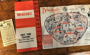 Vintage Disneyland 1958 Park Entry Pamphlet Brochure Map Origanal Parking Pass