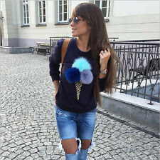 Fashion Women Lady Girl Ice Cream Blouse Top Shirt Long Sleeve Clothes Hoodies