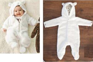 Baby Teddy Fleece Overall 62/68 Teddyfleece Onesie mit Ohren weiß NEU
