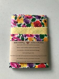 Beeswax Wraps Pack of Three 3 UK Handmade Lincolnshire Beeswax Bee Happy Eco