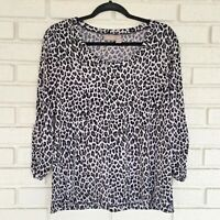 CHICO's Leopard Shirt Top Blouse Womens 2 Large L Animal Print Black Gray USA