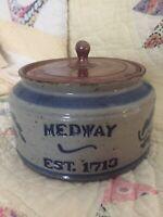 Vintage Stoneware Pottery Lidded Bowl Cobalt Blue Brown Salt Glazed Jar Crock