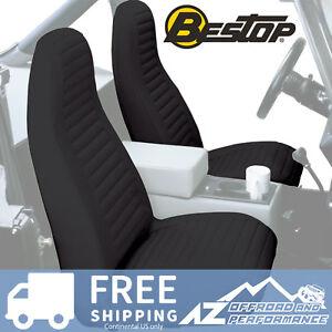 Bestop Seat Covers Pair High Back Bucket 76-91 Jeep CJ5 CJ7 Wrangler Black Denim
