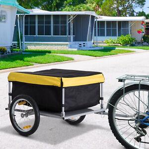 HOMCOM Bicycle Bike Cargo Trailer Cart Carrier Wagon Yellow and Black