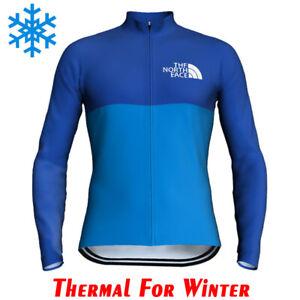 Mens Cycling Jersey Jacket Thermal Bike MTB Tight Jacket Team Top Winter Fleece